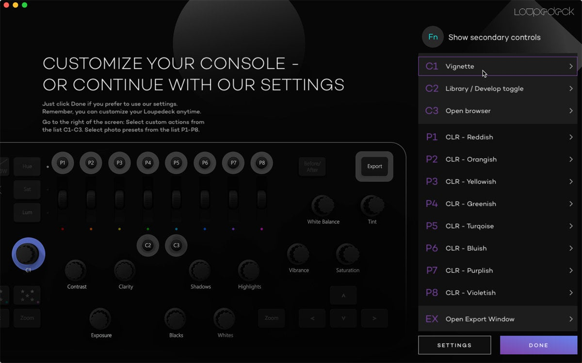 loupedeck settings controls