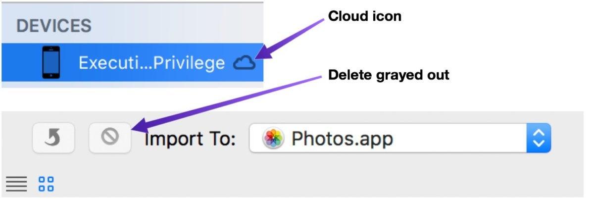 mac911 image capture no delete button