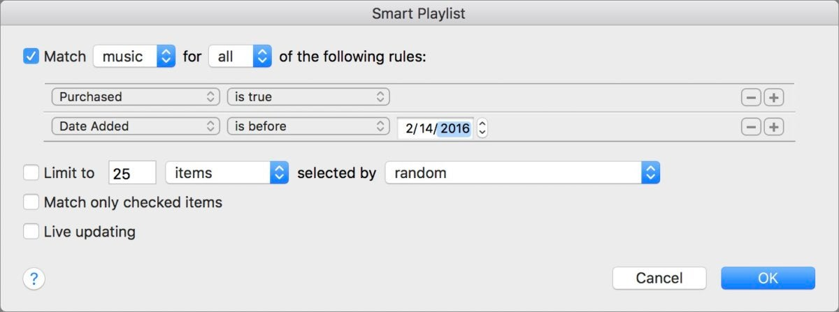 mac911 smart playlist purchased songs