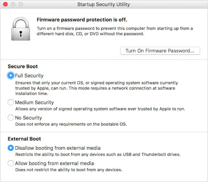 macos high sierra startup security utility