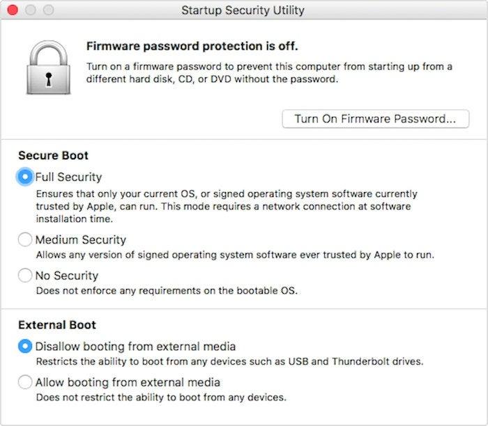 macos high sierra startup security utility