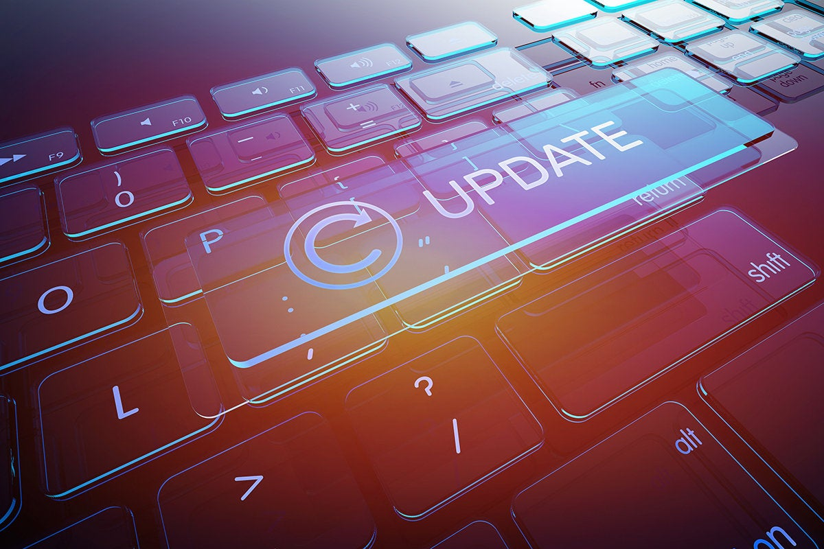 virtual update button hovers over a keyboard