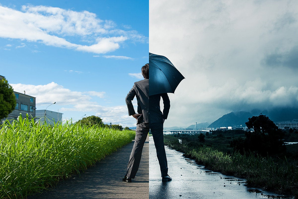 blue skies vs. storm clouds - pros vs. cons - positives vs. negatives - risk assessment analysis