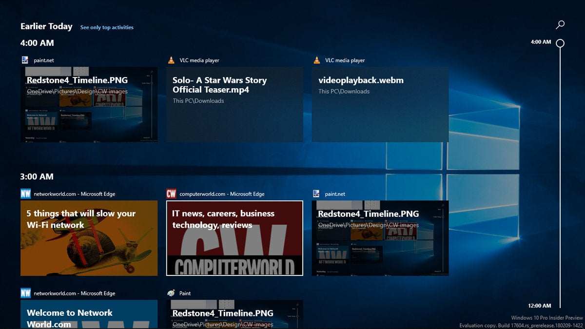 Windows 10 Redstone 4 - Timeline