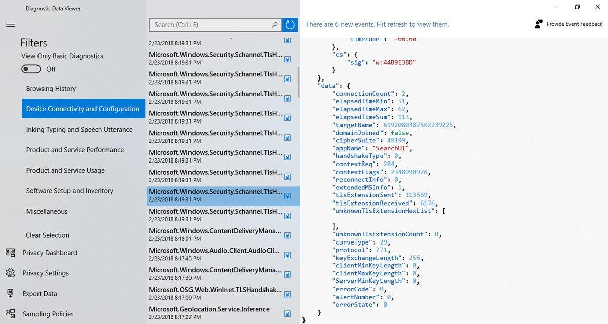 Windows 10 Redstone 4 diagnostic data viewer