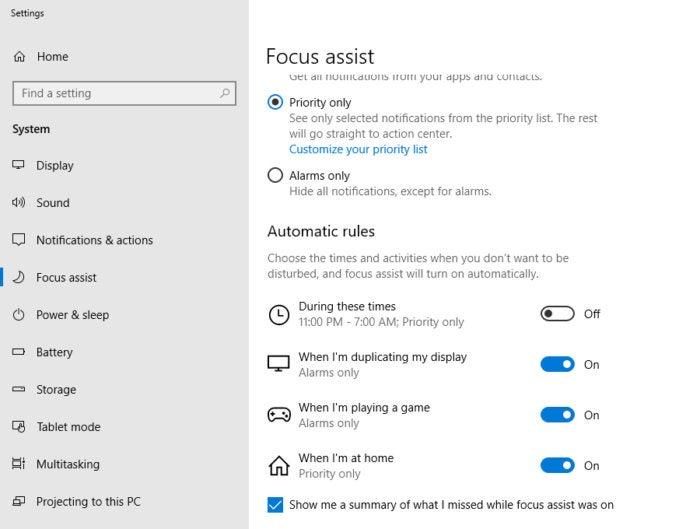 Windows 10 Redstone 4 focus assist