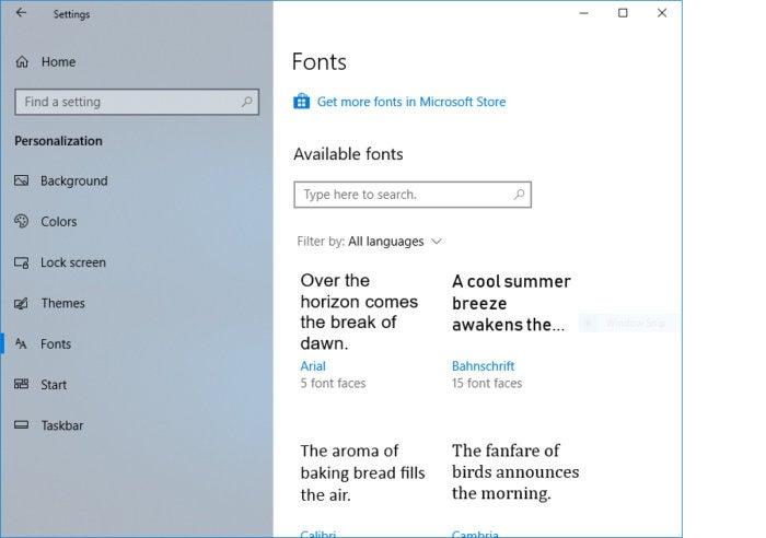 Windows 10 Redstone 4 settings fonts