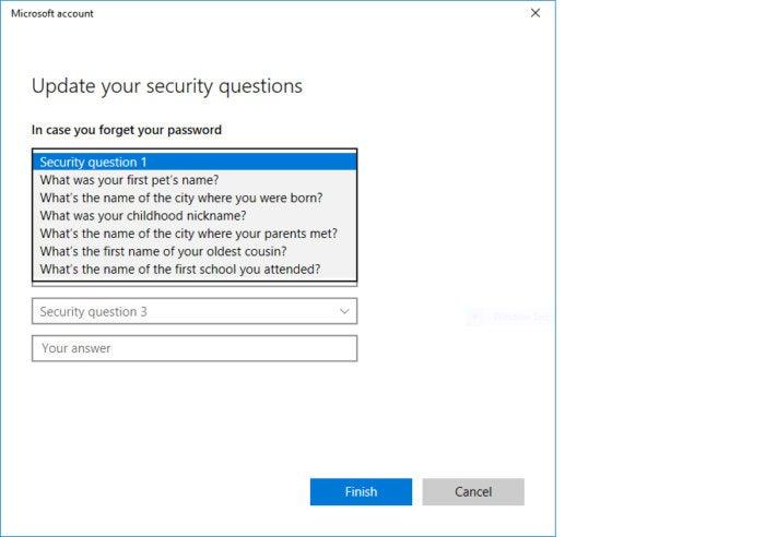 Windows 10 Redstone 4 local login password recovery