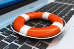 laptop keyboard with a life preserver or personal floatation device [PFD]