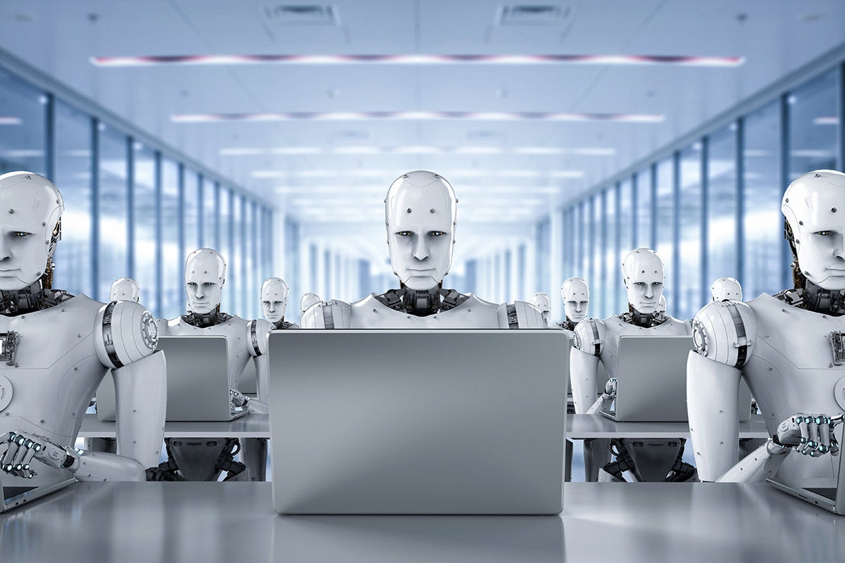 artificially intelligent, robotic workers