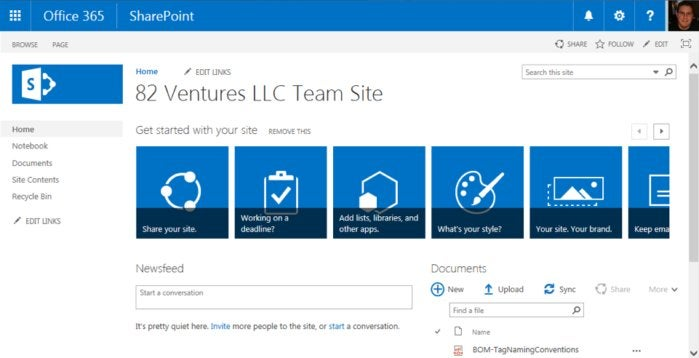 SharePoint Online - team site example 6024746d7fb