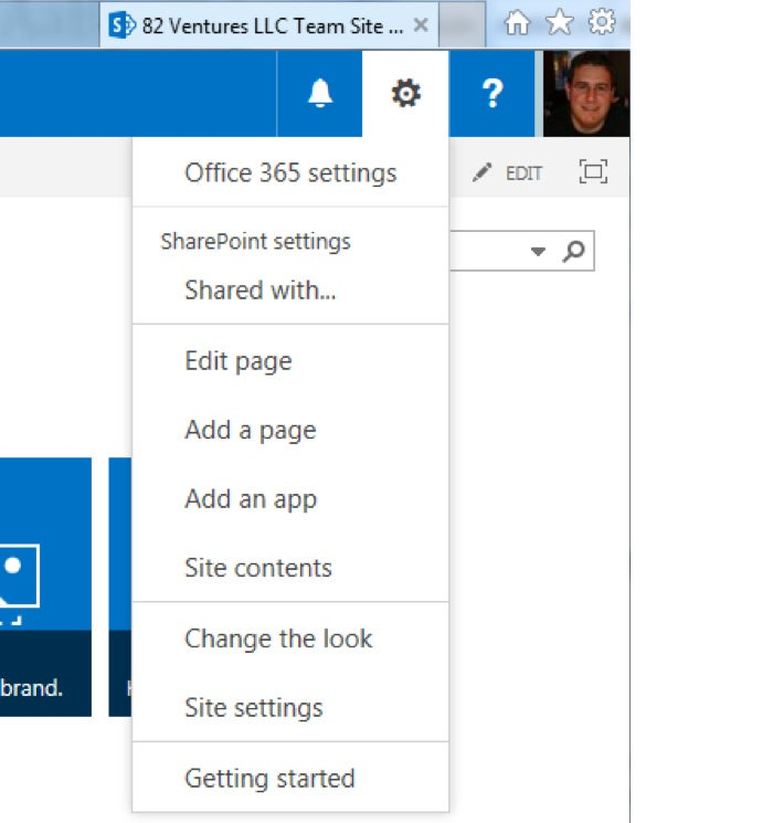 SharePoint Online - site settings menu
