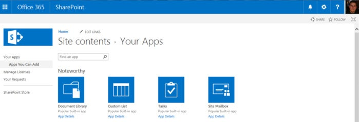 SharePoint Online - site contents apps