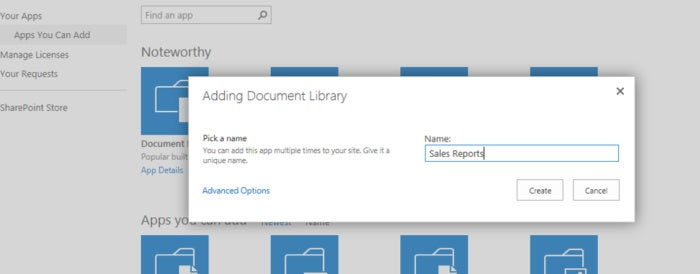 SharePoint Online - add document library