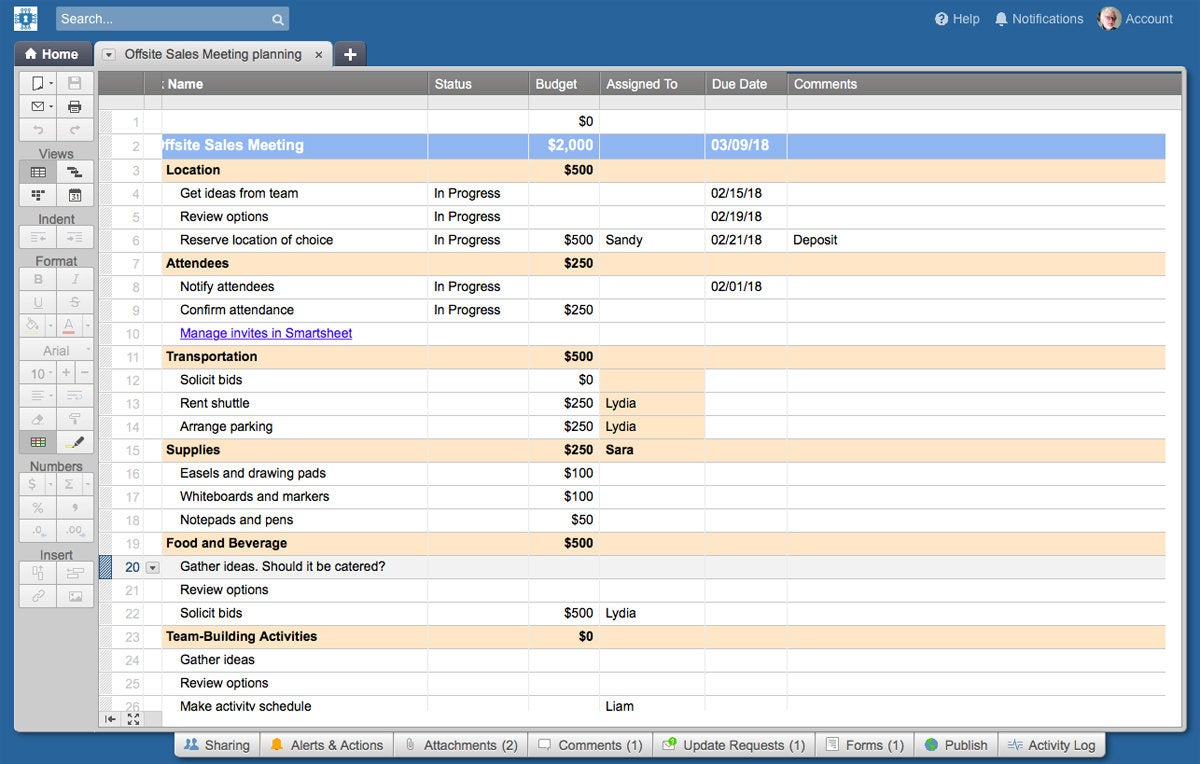 Smartsheet spreadsheet view