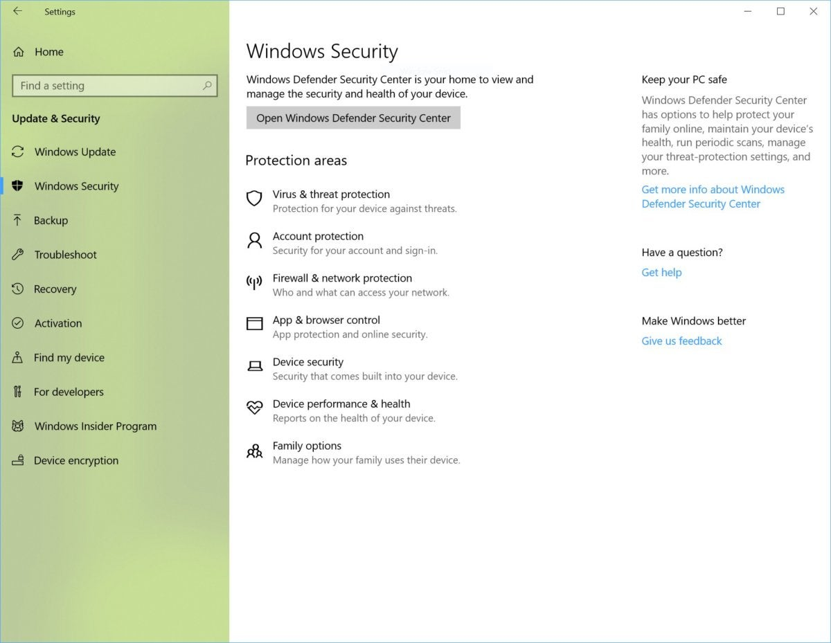 windows 10 insider windows defender