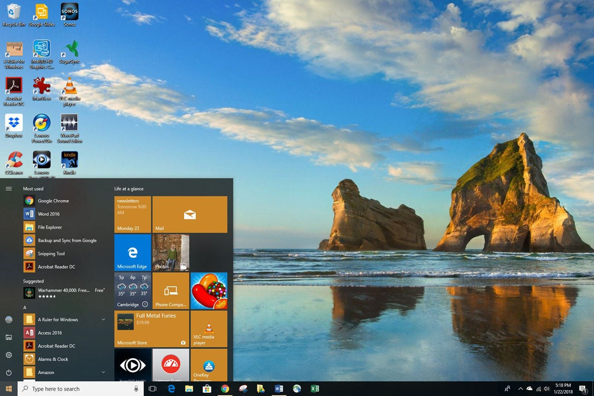 Windows 10 Start menu on desktop
