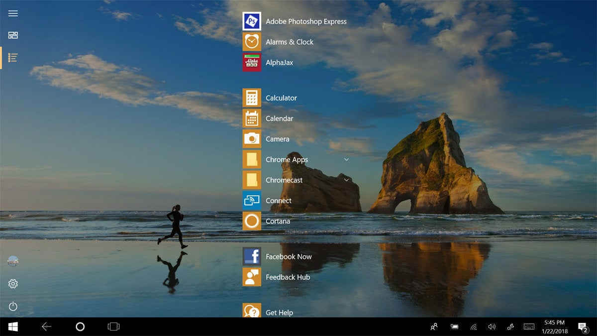 Windows 10 tablet all apps view