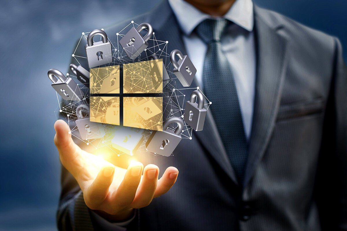Windows security and protection [Windows logo/locks]