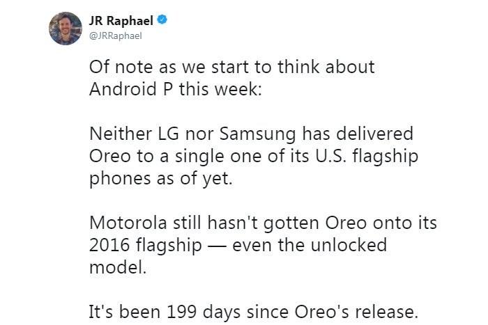Android Upgrades Tweet