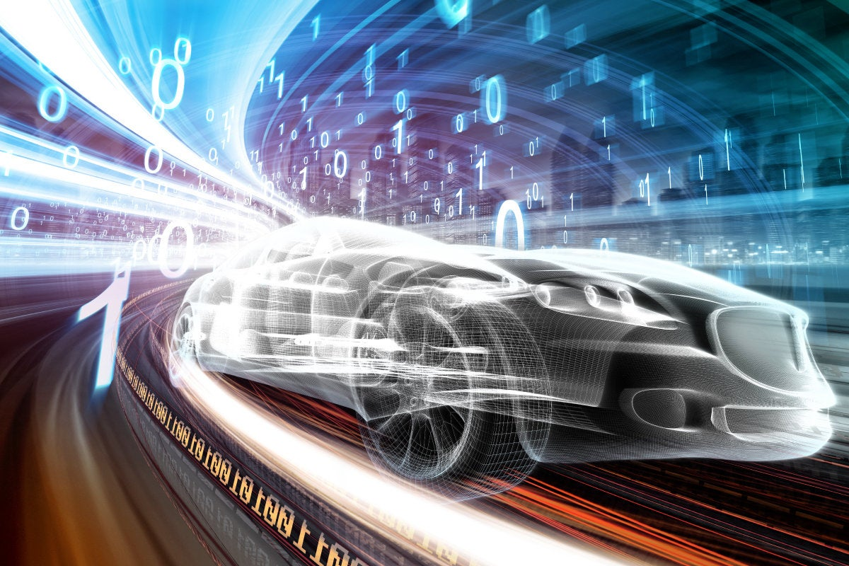 CSO slideshow - Insider Security Breaches - Futuristic car technology races along a binary highway