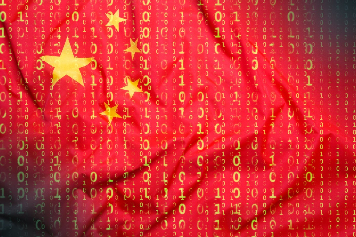 CSO slideshow - Insider Security Breaches - Flag of China, binary code