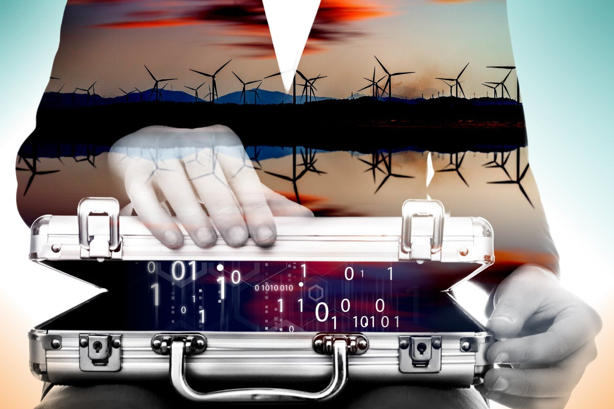 CSO slideshow - Insider Security Breaches - A briefcase of binary code, wind turbines on the horizon