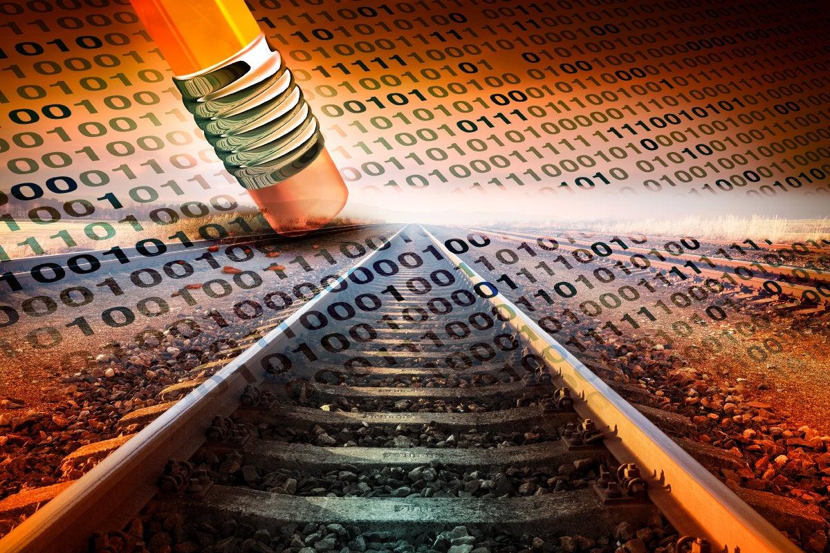 CSO slideshow - Insider Security Breaches - Pencil erasing binary railroad data