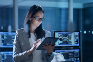 database woman in tablet mobile
