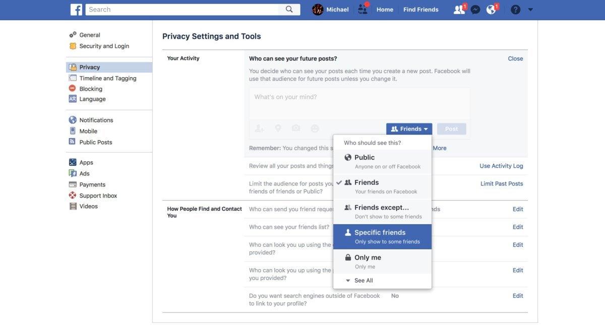 facebook account private