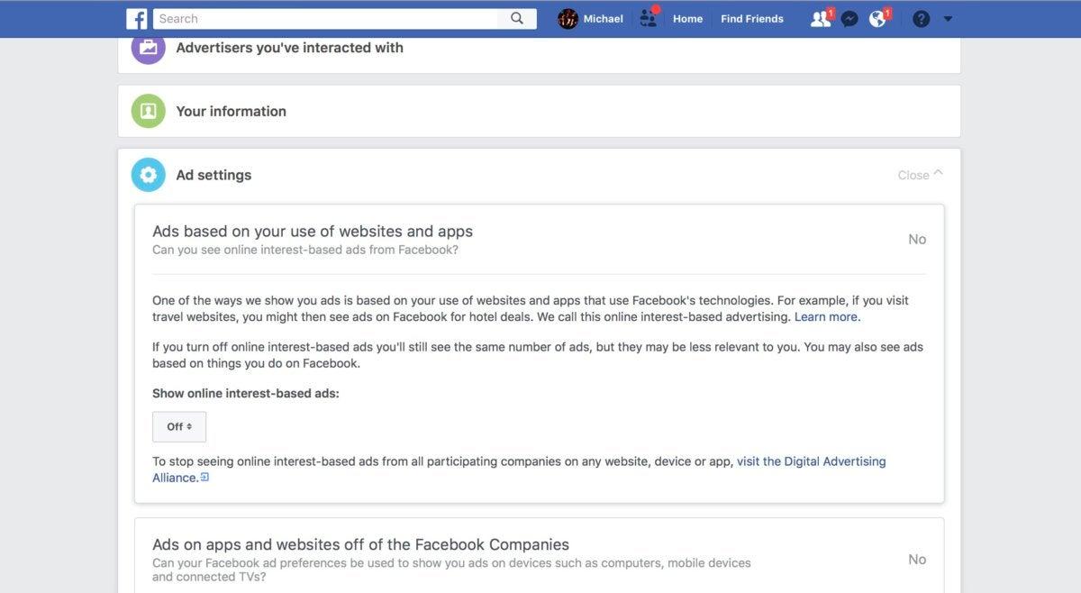 facebook turn off interest based ads