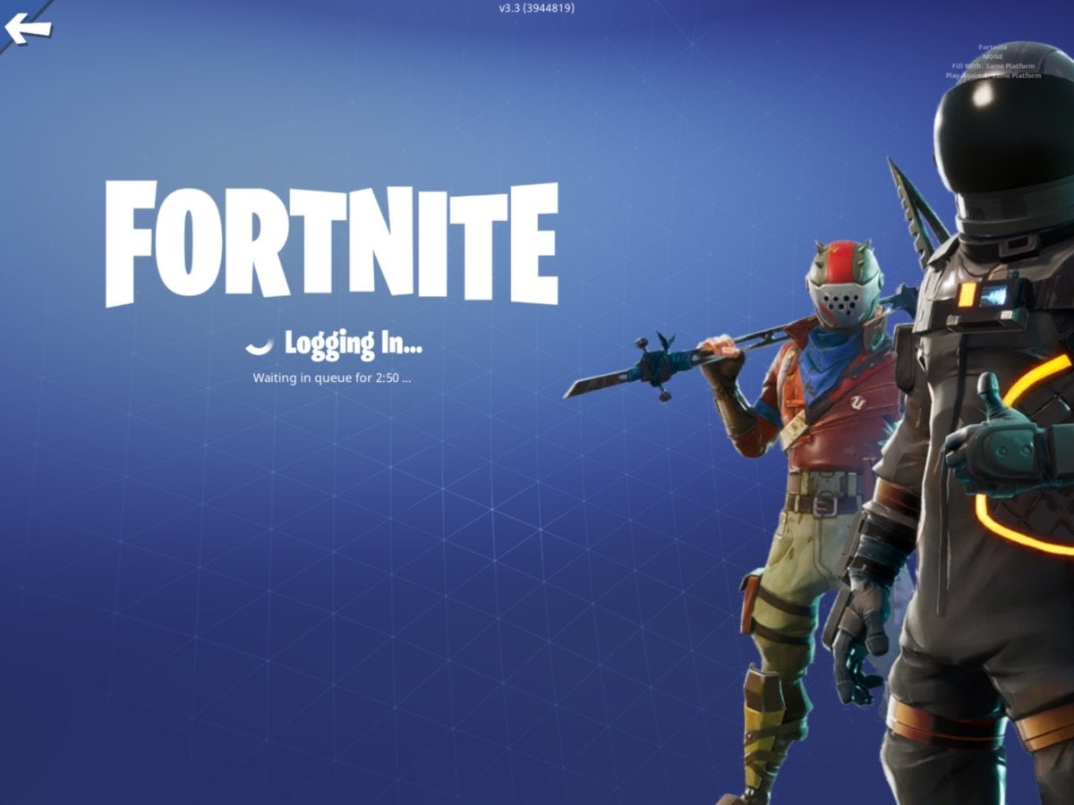 Fortnite: logging in