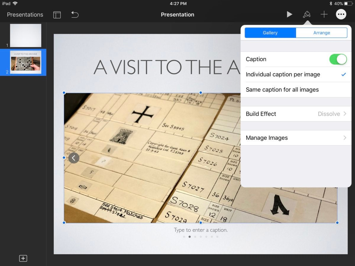 keynote4 ios creating image gallery