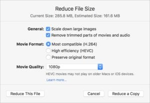keynote8 reduce file size
