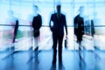 leaders executives in a row blurry