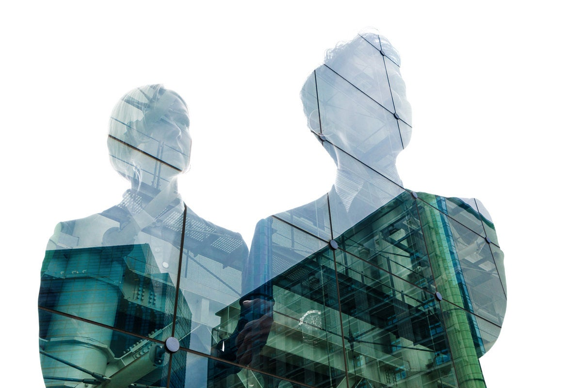 leadership execs superimposed on building