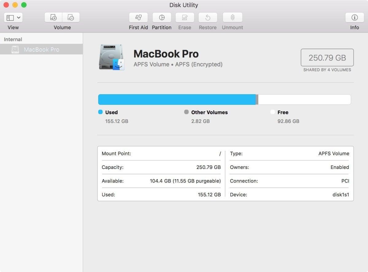 mac os high sierra disk utility