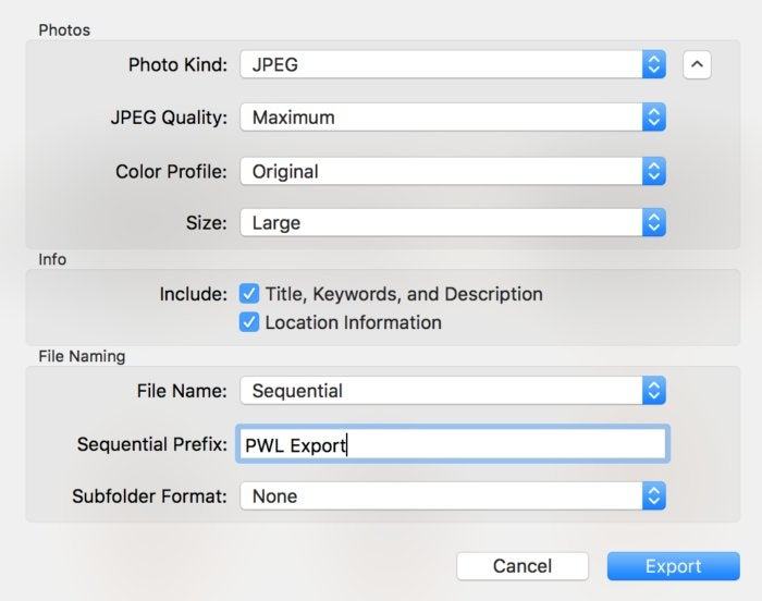 mac911 export from photos sequentially