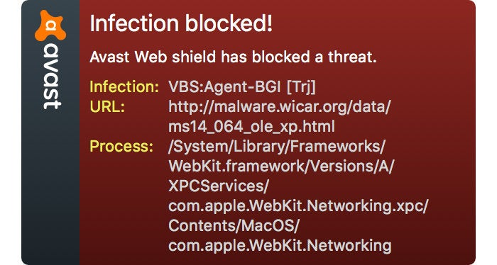 macav avast realtime malware blocking