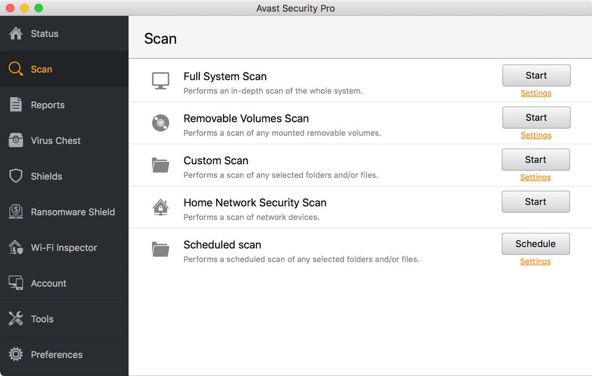 macav avast scan settings
