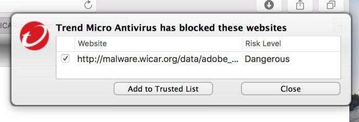 macav trend micro malicious site blocked