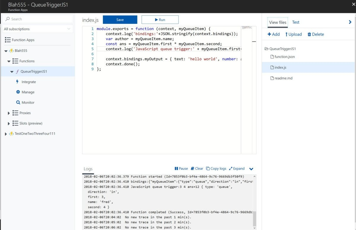microsoft azure functions ide