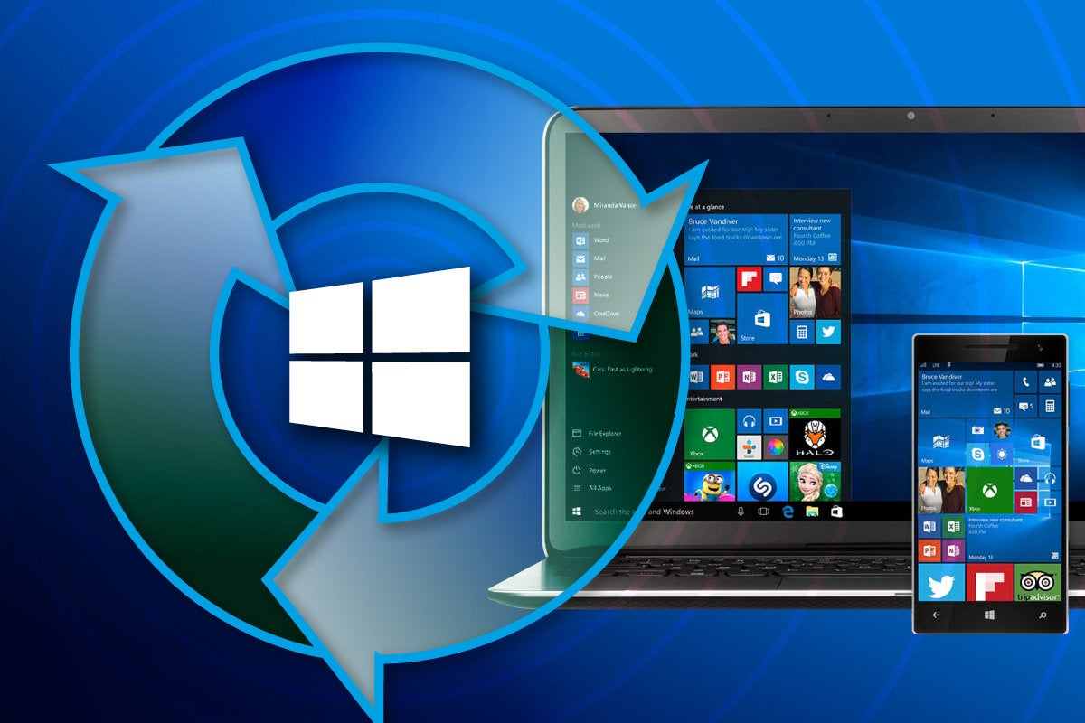 Microsoft Windows update arrows on laptop and mobile phone