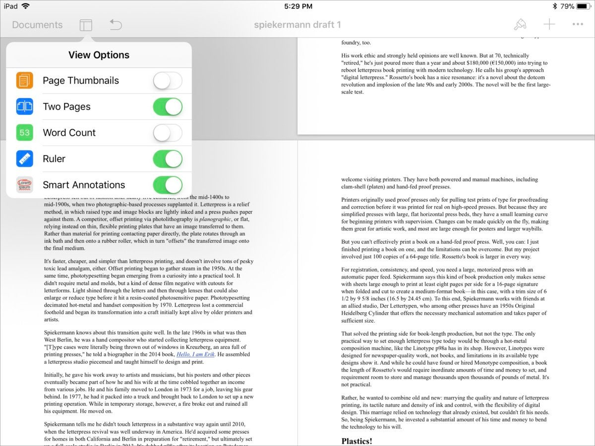pages4 ios multiple page view