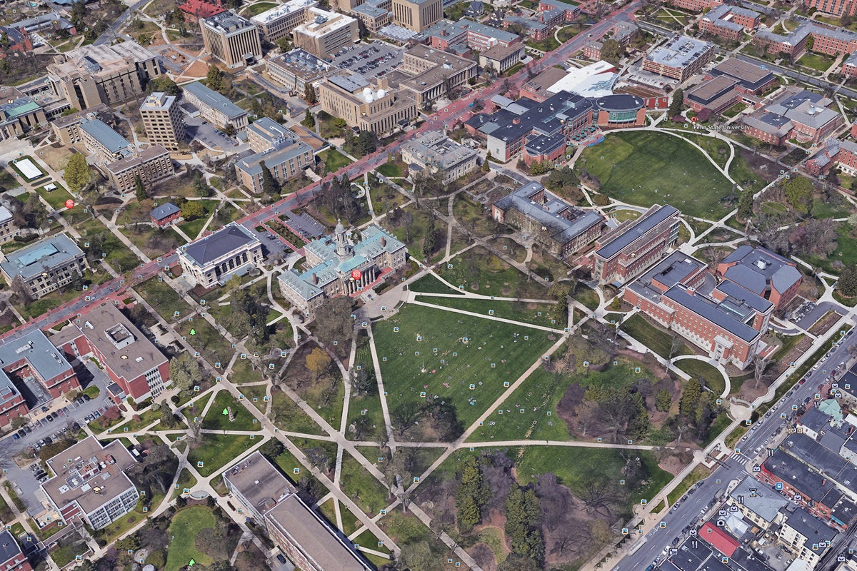 penn state university google map 3d