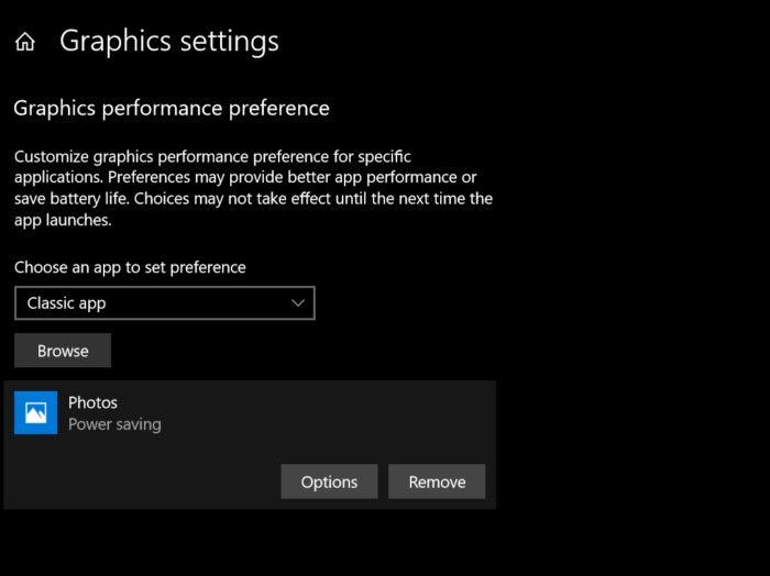 Windows 10 Redstone 4 per app graphics settings