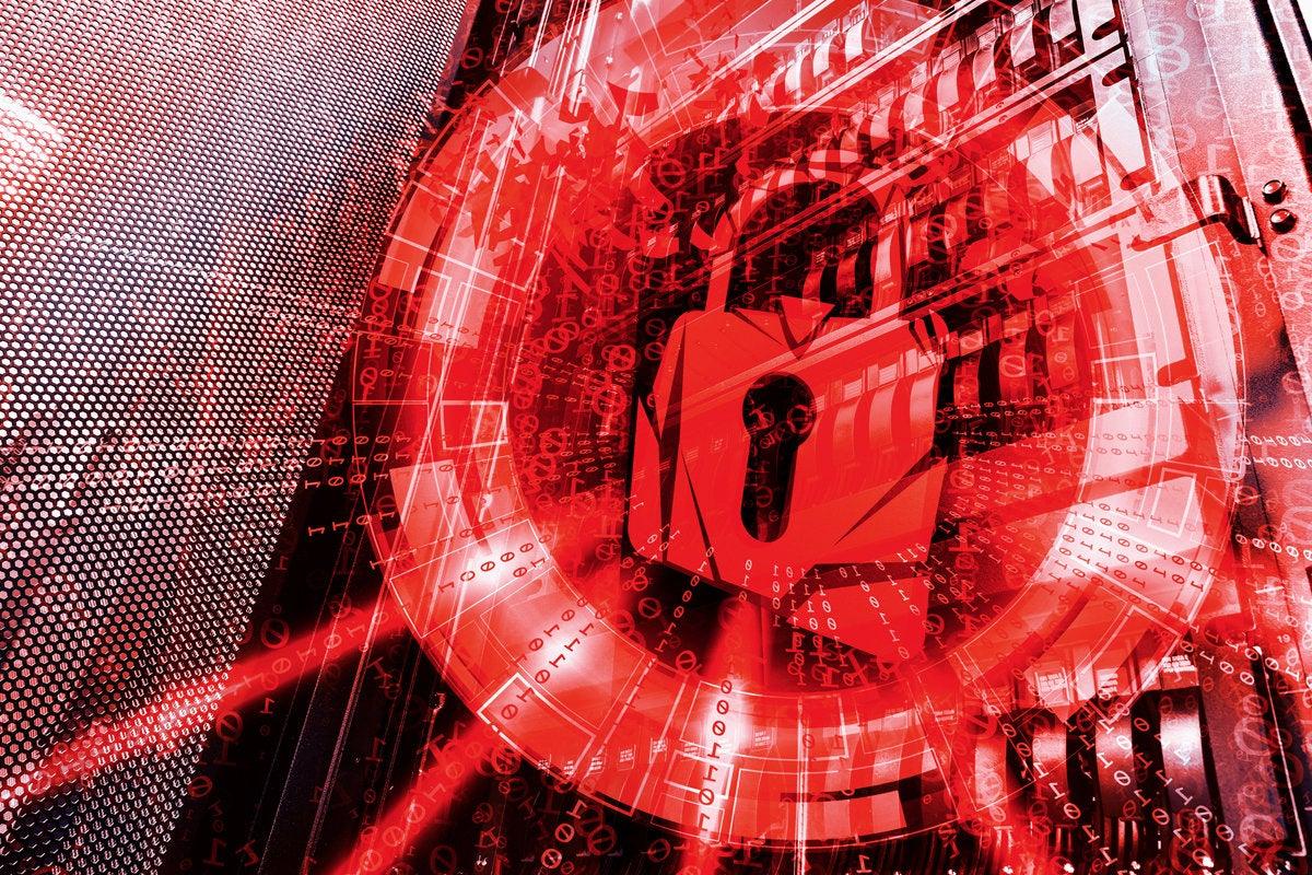 red padlock cybersecurity threat ransomeware