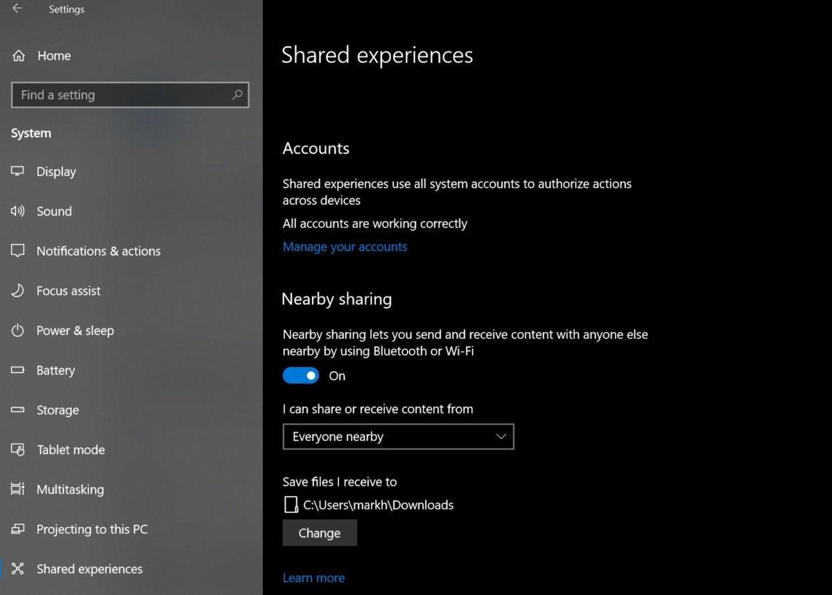 shared experiences settings near share windows 10