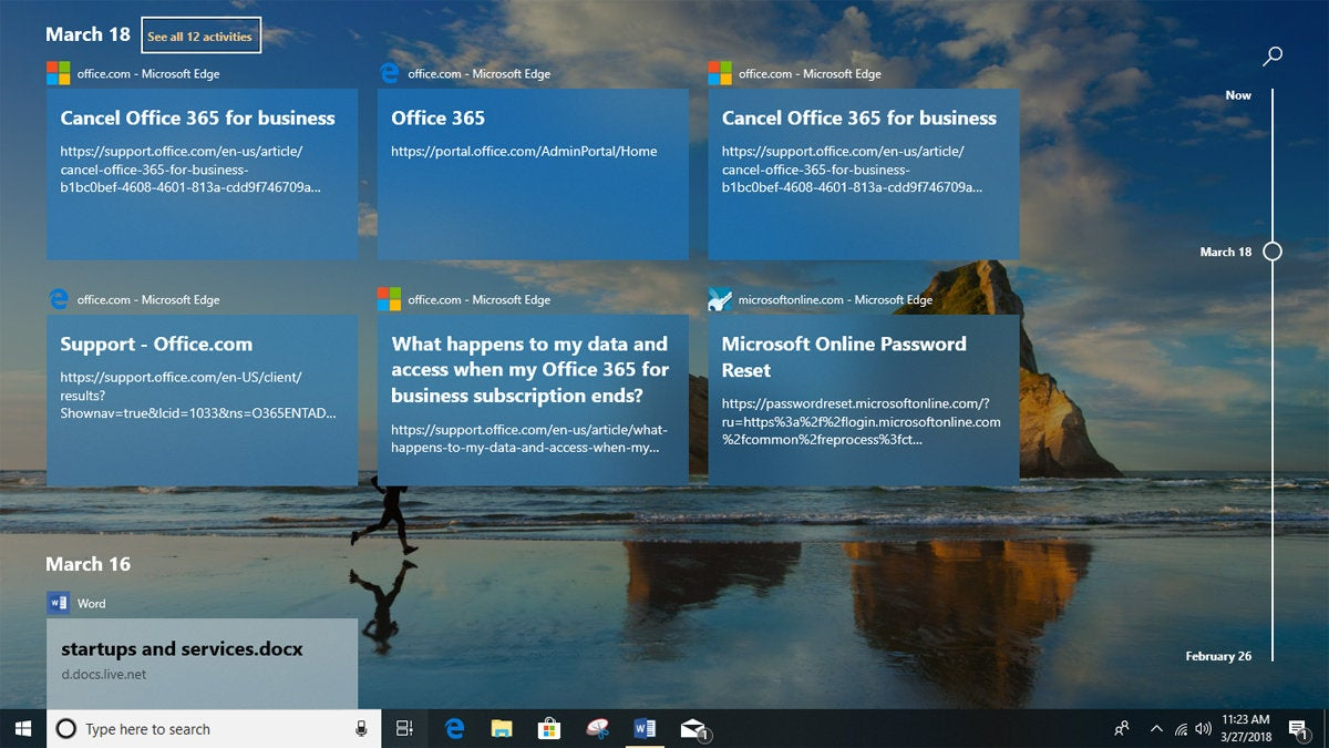 Windows 10 version 1803 Timeline