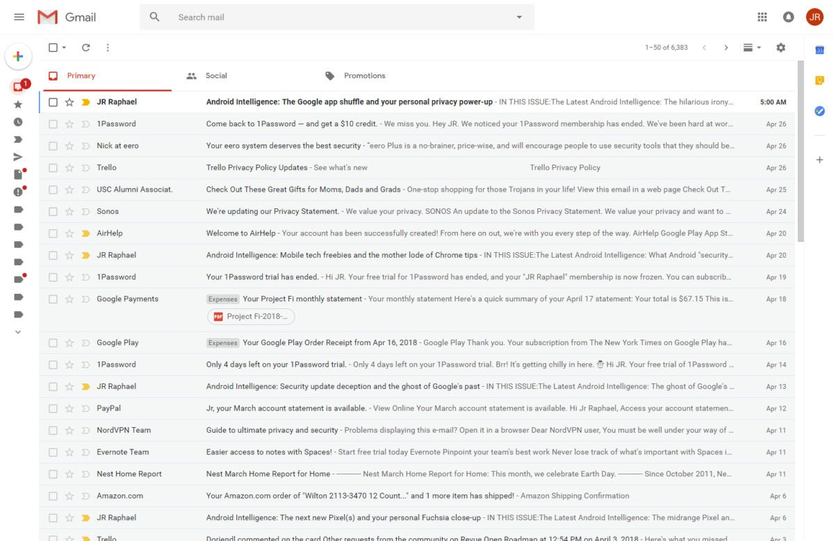 new Gmail - collapse panel
